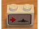 Part No: 3004pb018L  Name: Brick 1 x 2 with Red Arrow on Left Side pointing Right & Airplane Pattern (Sticker) - Set 6396