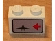 Part No: 3004pb018R  Name: Brick 1 x 2 with Red Arrow on Right Side pointing Left & Airplane Pattern (Sticker) - Set 6396