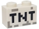 Part No: 3004pb122  Name: Brick 1 x 2 with Black 'TNT' Pixelated Pattern