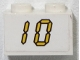 Part No: 3004pb137  Name: Brick 1 x 2 with Yellow Digital '10' on White Background Pattern (Sticker) - Set 3568