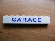 Part No: 3008pb071  Name: Brick 1 x 8 with Blue 'GARAGE' Sans-Serif Pattern
