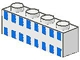 Part No: 3010p21  Name: Brick 1 x 4 with Ferry Squares Light Blue in 2 Lines Pattern