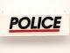 Part No: 3010pb047  Name: Brick 1 x 4 with Black 'POLICE' Red Line on White Background Pattern (Sticker) - Sets 6344 / 6398