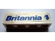 Part No: 3010pb055R  Name: Brick 1 x 4 with Blue 'Britannia' and Logo Pattern Model Right Side (Sticker) - Set 1599