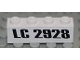 Part No: 3010pb065  Name: Brick 1 x 4 with Black 'LC 2928' Pattern (Sticker) - Set 2928