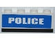 Part No: 3010pb152  Name: Brick 1 x 4 with White 'POLICE' Short Font on Blue Background Pattern (Sticker) - Sets 7285 / 7288