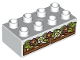 Part No: 3011pb043  Name: Duplo, Brick 2 x 4 with Flowers and Leaves on Wooden Fence Pattern