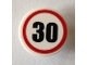 Part No: 30261pb037  Name: Road Sign 2 x 2 Round with Clip with Black Number 30 in Red Circle Pattern (Sticker) - Set 40170