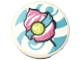 Part No: 30261pb042  Name: Road Sign 2 x 2 Round with Clip with '5-', Spirals and Dark Pink Candyfloss Pattern (Sticker) - Set 41337