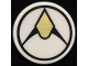 Part No: 30261pb046  Name: Road Sign 2 x 2 Round with Clip with Black and Gold Exploriens Logo Pattern (Sticker) - Set 70657