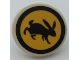 Part No: 30261pb051  Name: Road Sign 2 x 2 Round with Clip with Black Rabbit and Circle on Yellow Background Pattern (Sticker) - Set 41352