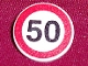 Part No: 30261px2  Name: Road Sign 2 x 2 Round with Clip with Black Number 50 in Red Circle Pattern