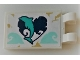 Part No: 30350bpb123  Name: Tile, Modified 2 x 3 with 2 Clips with Dark Turquoise Dolphin on Heart Pattern (Sticker) - Set 41378