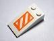 Part No: 30363pb024  Name: Slope 18 4 x 2 with Orange and White Danger Stripes Pattern (Sticker) - Set 10129