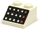 Part No: 3039p32  Name: Slope 45 2 x 2 with 12 Buttons, 3 Red Lamps, Black Panel Pattern
