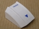 Part No: 30602pb044  Name: Slope, Curved 2 x 2 Lip with 'CAUTION' and Small Triangle Blue on White Pattern (Sticker) - Set 7700