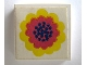 Part No: 3068apb01  Name: Tile 2 x 2 without Groove with Flower Yellow and Red on White Pattern (Sticker) - Set 290-2