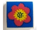 Part No: 3068apb02  Name: Tile 2 x 2 without Groove with Flower Red and Yellow on Blue Pattern (Sticker) - Set 290-2