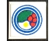 Part No: 3068apb14  Name: Tile 2 x 2 without Groove with Blue Circle Plate, Fried Egg, 4 Red Spots Pattern 1 (Sticker) - Set 269