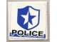 Part No: 3068bpb0009  Name: Tile 2 x 2 with Groove with 'POLICE' on White/Blue Background with Badge Pattern (Sticker) - Set 8230