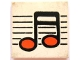 Part No: 3068bpb0034  Name: Tile 2 x 2 with Groove with Black / Orange Music Note Pattern