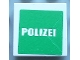 Part No: 3068bpb0347  Name: Tile 2 x 2 with Groove with White 'POLIZEI' on Green Background Pattern (Sticker) - Set 7236-1