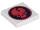 Part No: 3068bpb0379  Name: Tile 2 x 2 with Groove with Ninjago Cracked Red Skull on Black Circle Pattern