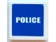Part No: 3068bpb0387  Name: Tile 2 x 2 with Groove with White 'POLICE' on Blue Background Pattern (Sticker) - Set 7236-2