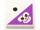 Part No: 3068bpb0393  Name: Tile 2 x 2 with Groove with 1 Black Dot and Dark Purple Triangle with Skull with Eyepatch Pattern