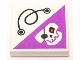Part No: 3068bpb0394  Name: Tile 2 x 2 with Groove with String and Dark Purple Triangle with Skull with Eyepatch and Red Eye Pattern