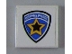 Part No: 3068bpb0425  Name: Tile 2 x 2 with Groove with Highway Patrol Logo Yellow Star Pattern (Sticker) - Sets 6111 / 8665