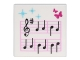 Part No: 3068bpb0589  Name: Tile 2 x 2 with Groove with Music Notes and Butterflies Pattern