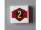 Part No: 3068bpb0633  Name: Tile 2 x 2 with Groove with Yellow Number 2 in Fire Logo Badge on White Background Pattern (Sticker) - Set 60004