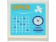 Part No: 3068bpb0751  Name: Tile 2 x 2 with Groove with 'OPEN', White Seaplane, Schedule Grid and Clock Pattern (Sticker) - Set 3063