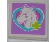 Part No: 3068bpb0756  Name: Tile 2 x 2 with Groove with Lime Cross and Horse Head in Medium Azure Heart Pattern (Sticker) - Set 3188
