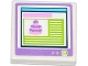 Part No: 3068bpb0830  Name: Tile 2 x 2 with Groove with Cake on Computer Screen Pattern (Sticker) - Set 41056