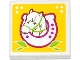 Part No: 3068bpb0834  Name: Tile 2 x 2 with Groove with Horse Head in Horseshoe and Leaves on Yellow Background Pattern (Sticker) - Set 41039