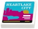 Part No: 3068bpb0948  Name: Tile 2 x 2 with Groove with 'HEARTLAKE CITY' and Skyline Pattern (Sticker) - Set 41106