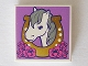 Part No: 3068bpb0992  Name: Tile 2 x 2 with Groove with Horse Head Facing Left in Horseshoe and Flowers Pattern