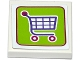 Part No: 3068bpb1012  Name: Tile 2 x 2 with Groove with Shopping Cart / Trolley on Lime Background Pattern (Sticker) - Set 41118