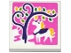 Part No: 3068bpb1019  Name: Tile 2 x 2 with Groove with Horse and Tree on Dark Pink Background Pattern (Sticker) - Set 41065