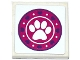 Part No: 3068bpb1046  Name: Tile 2 x 2 with Groove with Dark Purple Hearts, White Paw Print and Dots in Magenta Circle Pattern (Sticker) - Set 41124