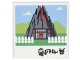Part No: 3068bpb1101  Name: Tile 2 x 2 with Groove with Photograph of Volcano with Door, White Picket Fence and Black Ninjago Logogram 'HOME' Pattern