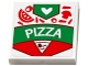 Part No: 3068bpb1114  Name: Tile 2 x 2 with Groove with 'PIZZA' Box, Toppings, White Heart and Pizza Slice Pattern (Sticker) - Set 41311