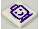 Part No: 3068bpb1208  Name: Tile 2 x 2 with Groove with Dark Purple Drawing of Minifigure Head and Shoulders Pattern