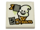 Part No: 3068bpb1308  Name: Tile 2 x 2 with Groove with 'I S Cream' and Ice Cream with Happy Face Pattern (Sticker) - Set 70432
