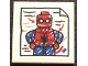 Part No: 3068bpb1316  Name: Tile 2 x 2 with Groove with Drawing of Spider-Man and Red Arrows Pattern (Sticker) - Set 76108