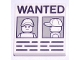 Part No: 3068bpb1344  Name: Tile 2 x 2 with Groove with 'WANTED' Minifigure Front and Side Mugshots on Light Bluish Gray Background and Black Lines Poster Pattern