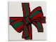 Part No: 3068bpb1461  Name: Tile 2 x 2 with Groove with Red and Green Bow Pattern (BAM)