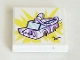 Part No: 3068bpb1523  Name: Tile 2 x 2 with Groove with Medium Lavender Car (Olivia's Mission Vehicle) on Yellow Sunburst Pattern (Sticker) - Set 41332
